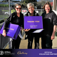 Rachel Browne-Cole (Vice President - Senior Teams) presents Cadbury Goodie Packs to Jo Morriss and Kim Voigt who were named as July Volunteers of the Month.  Congratulations to Jo & Kim!